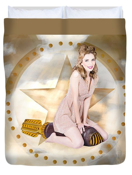 Antique Pin-up Girl On Missile. Bombshell Blond Duvet Cover by Jorgo Photography - Wall Art Gallery