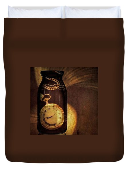 Antique Pocket Watch In A Bottle Duvet Cover by Susan Candelario