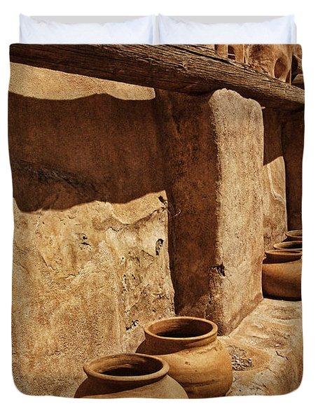 Antique Pots At Mission Txt Duvet Cover