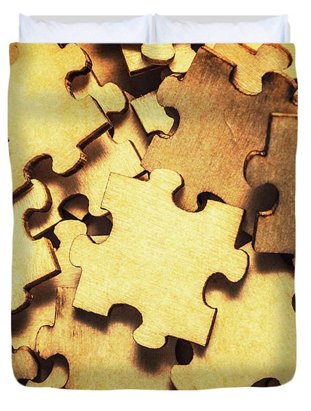 Antique Puzzle Of Missing Links Duvet Cover