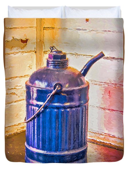 Duvet Cover featuring the photograph Antique Railroad Kerosene Can by Gary Slawsky
