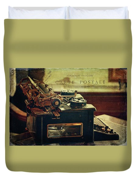 Antique Royal Typewriter Duvet Cover