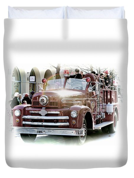 Antique Santa Cruz Fire Truck Duvet Cover