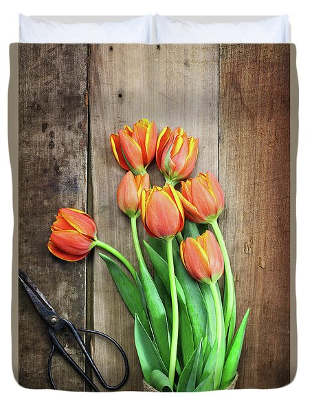 Duvet Cover featuring the photograph Antique Scissors And Bouguet Of Tulips by Stephanie Frey