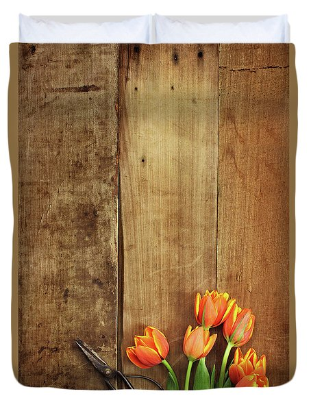 Duvet Cover featuring the photograph Antique Scissors And Tulips by Stephanie Frey