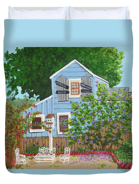 Duvet Cover featuring the painting Antique Shop, Cambria Ca by Katherine Young-Beck