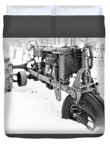 Antique Steel Wheel Tractor Black And White Duvet Cover