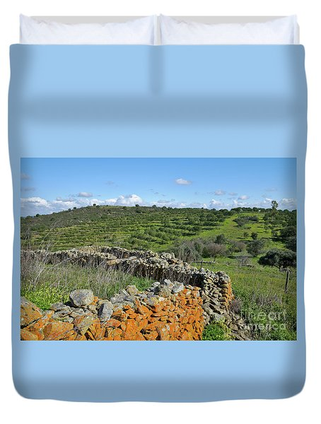 Antique Stone Wall Of An Old Farm Duvet Cover by Angelo DeVal