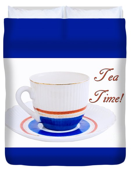 Antique Teacup From Japan With Tea Time Invitation Duvet Cover