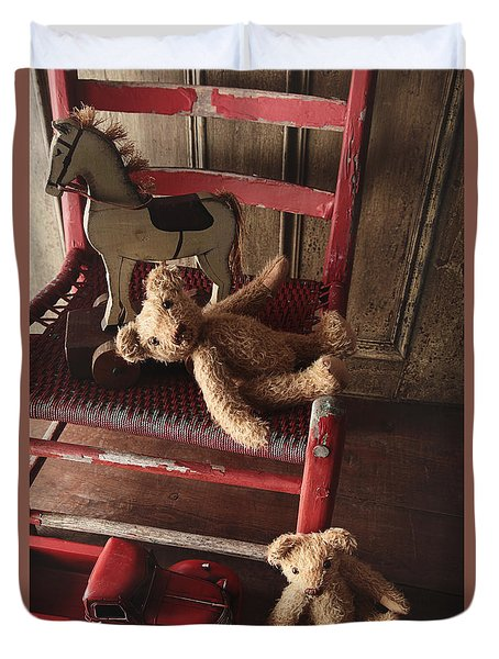 Antique Toys On Red Wooden Chair Duvet Cover