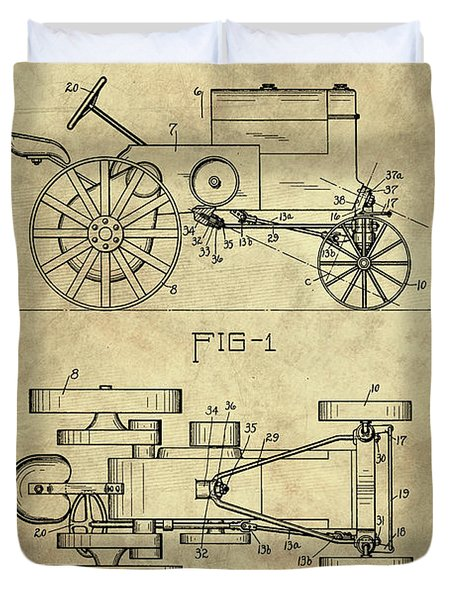 Antique Tractor Blueprint Patent Drawing Plan From 1929, Industrial Farmhouse Duvet Cover