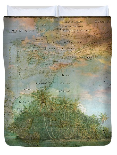 Duvet Cover featuring the photograph Antique Vintage Map Of North America Tropical Ocean by Debra and Dave Vanderlaan