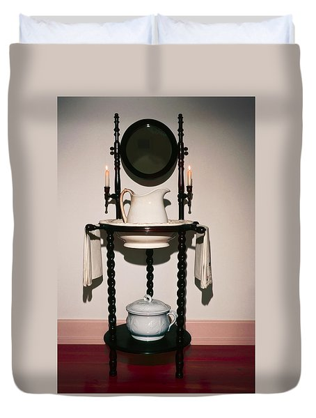 Antique Wash Stand Duvet Cover by Sally Weigand