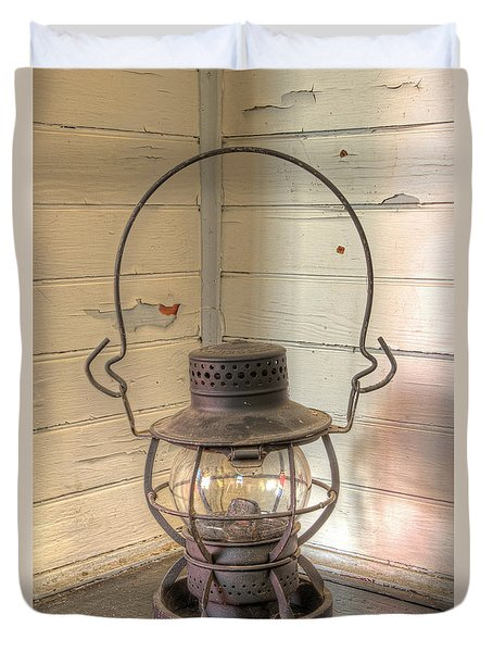Duvet Cover featuring the photograph Antique Weighted Kerosene Lantern by Gary Slawsky