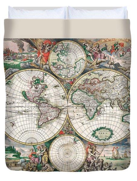 Antique World Map Duvet Cover