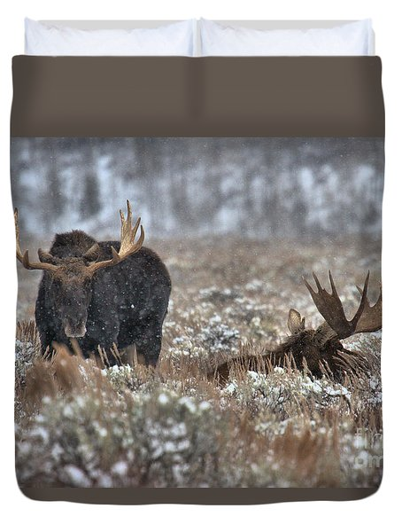 Duvet Cover featuring the photograph Antlers In The Brush by Adam Jewell