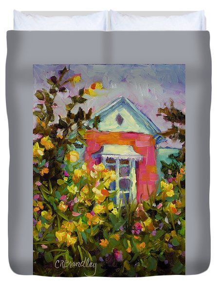 Duvet Cover featuring the painting Antoinette's Cottage by Chris Brandley
