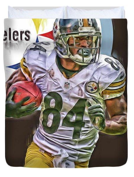 Antonio Brown Pittsburgh Steelers Oil Art 4  Duvet Cover