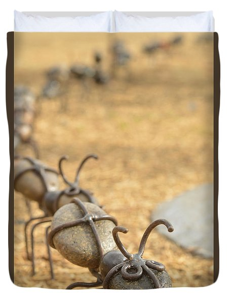 Ants Come Marching Duvet Cover by Pamela Patch