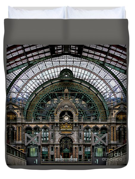 Antwerp Train Terminal Duvet Cover by Doug Sturgess