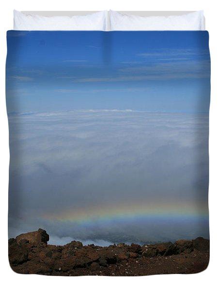 Anuenue - Rainbow At The Ahinahina Ahu Haleakala Sunrise Maui Hawaii Duvet Cover