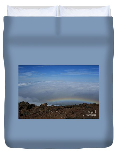 Anuenue - Rainbow At The Ahinahina Ahu Haleakala Sunrise Maui Hawaii Duvet Cover