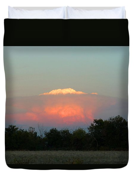 Duvet Cover featuring the digital art Anvil Cloud Over Kirksville, Mo by Jana Russon