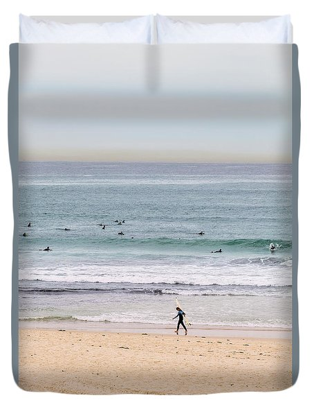 Duvet Cover featuring the photograph Any Day's A Good Day To Surf by Linda Lees