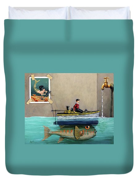 Duvet Cover featuring the painting Anyfin Is Possible - Fisherman Toy Boat And Mermaid Still Life Painting by Linda Apple