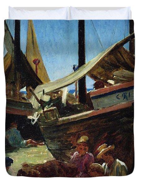Anzio The Port Duvet Cover by Antoine Auguste Ernest Hebert