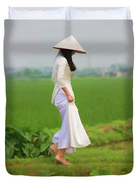 Ao Dai Woman Vietnamese Woman Duvet Cover