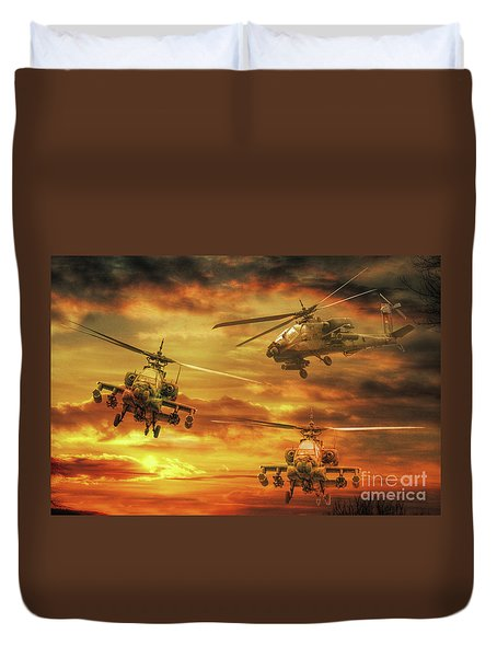 Duvet Cover featuring the digital art Apache Attack by Randy Steele