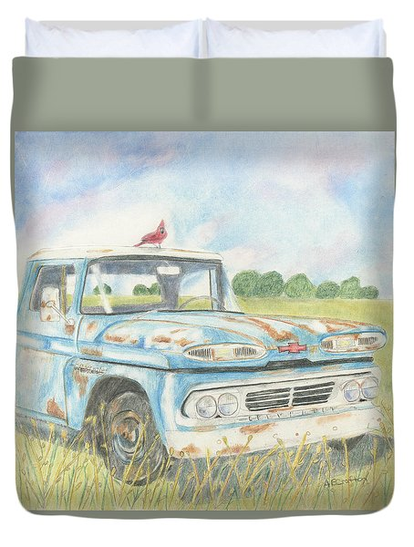 Duvet Cover featuring the drawing Apache Out To Pasture by Arlene Crafton