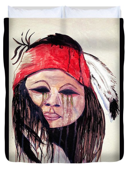 Watercolor Painting Of Apache Tears By Ayasha Loya Duvet Cover by Ayasha Loya