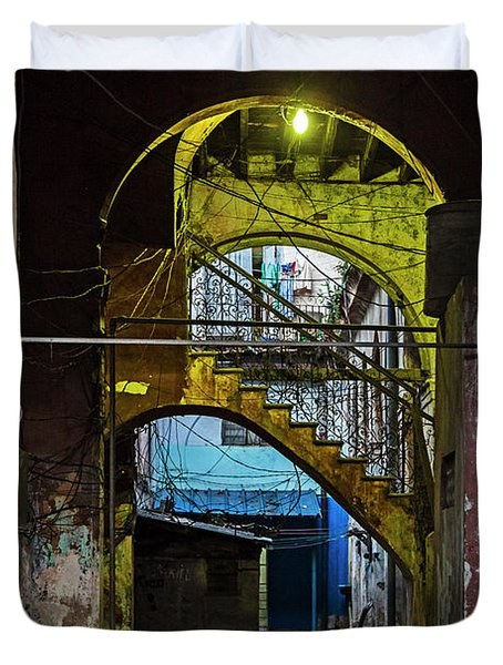 Duvet Cover featuring the photograph Apartment Enrance Havana Cuba Near Calle C by Charles Harden
