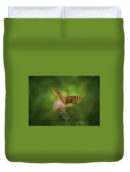 Duvet Cover featuring the photograph Aphrodite Fritillary Butterfly by Sandy Keeton