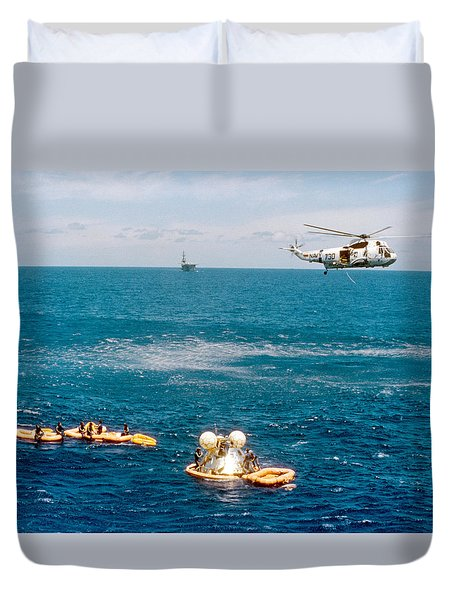 Duvet Cover featuring the pyrography Apollo Command Module Splashdown by Artistic Panda