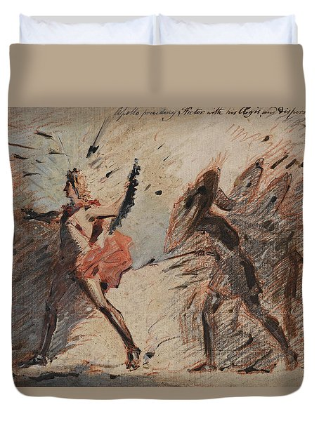 Apollo Preceding Hector With His Aegis And Dispersing The Greeks. Fuseli's Lectures Duvet Cover