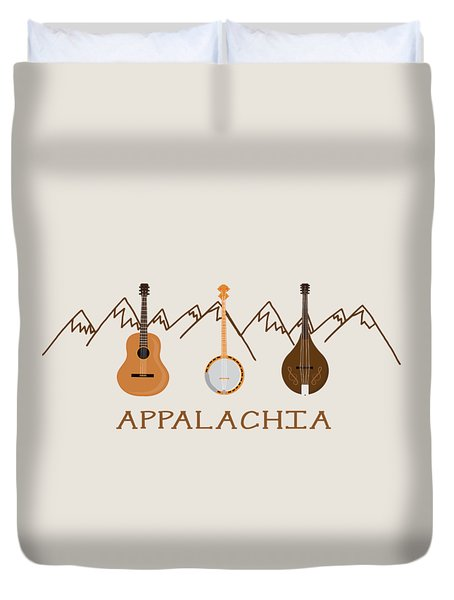 Duvet Cover featuring the digital art Appalachia Mountain Music by Heather Applegate