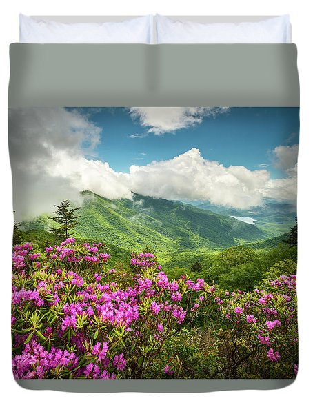 Appalachian Mountains Spring Flowers Scenic Landscape Asheville North Carolina Blue Ridge Parkway Duvet Cover