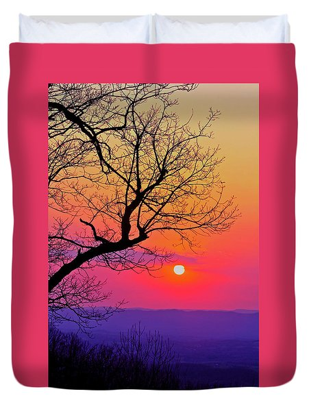 Appalcahian Sunset Tree Silhouette #2 Duvet Cover