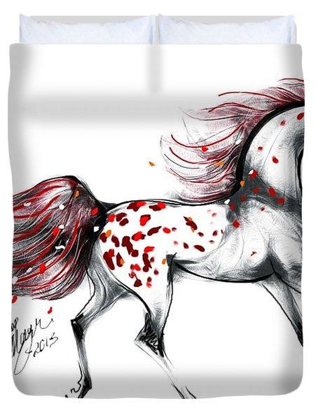 Appaloosa Rose Petals Horse Duvet Cover