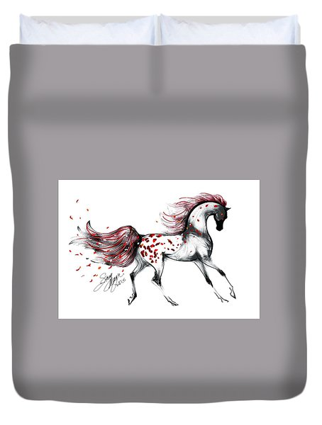 Appaloosa Rose Petals Horse Duvet Cover by Stacey Mayer
