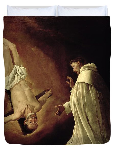 Appearance Of Saint Peter To Saint Peter Nolasco Duvet Cover by Francisco de Zurbaran
