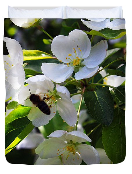 Apple And Bee Blossoms Duvet Cover