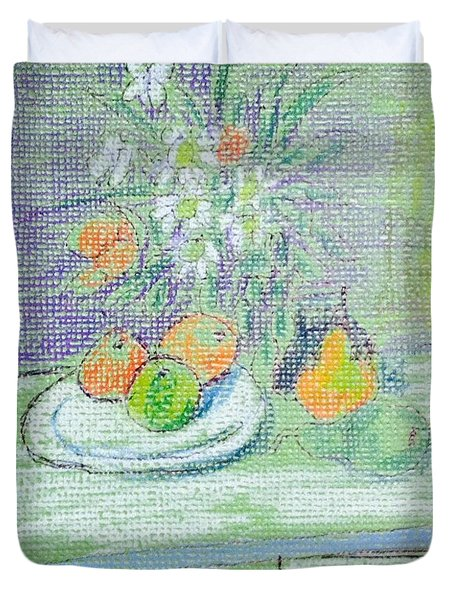 Apple And Pears In Desk Duvet Cover