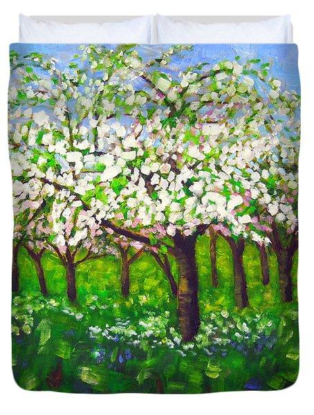 Apple Blossom Orchard Duvet Cover