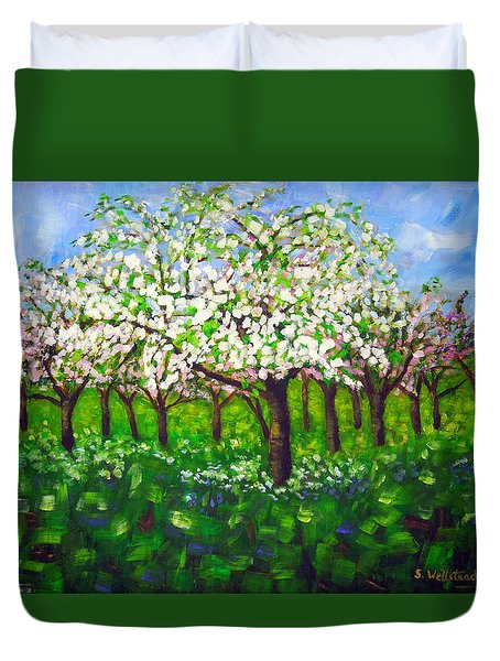 Apple Blossom Orchard Duvet Cover