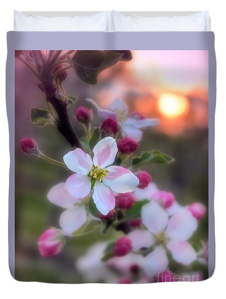 Duvet Cover featuring the photograph Apple Blossom Sunrise by Henry Kowalski