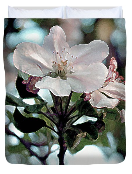 Duvet Cover featuring the painting Apple Blossom Time by RC DeWinter